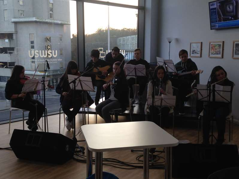 Year 9 Performing at University of South Wales Atrium Students Union