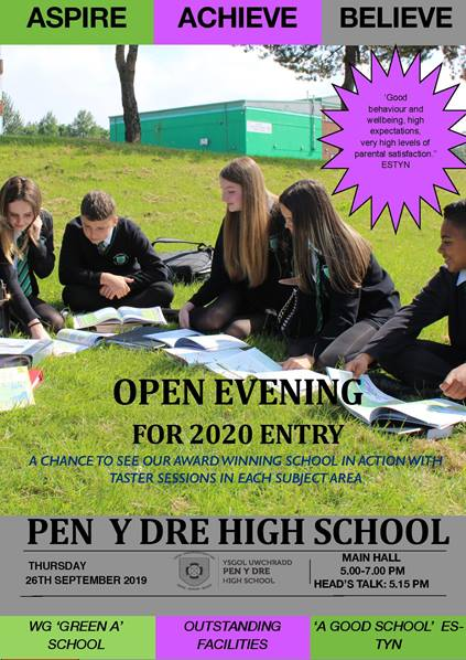 Open Evening 2020 Entry: Thursday 26th September 5.00-7.00 p.m.
